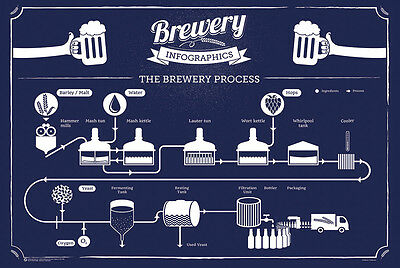 BREWING INFOGRAPHIC POSTER - 24x36 BEER CHART LIST HOME BREW BREWERY 10565