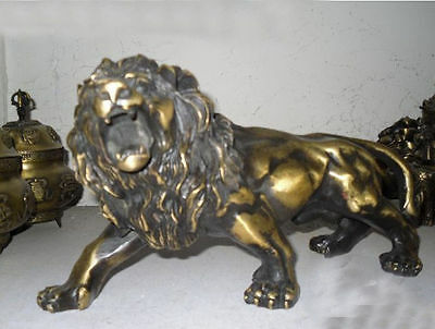 Collectables! Chinese Old Bronze exquisite Foo Dog Lion statue