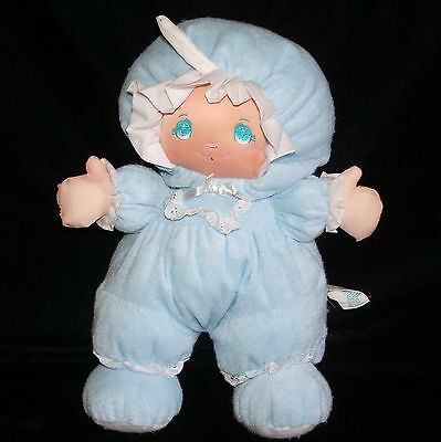 """Little Darlins Blue Terry Cloth 14"""" Doll Plush Well Made Toys 1994 Darlings"""