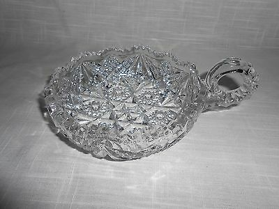 ANTIQUE IMPERIAL 1915 SIGNED NUCUT STAR PATTERN PRESSED GLASS HANDLED NAPPY