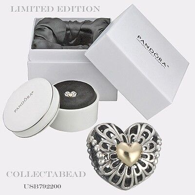 Authentic Pandora Silver & 14K Gold Vintage Heart Charm Gift Set Limited Edition