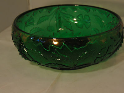 EAPG Delaware Bowl in Green with Remnants of Gold on the Rim