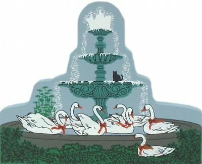 Cat's Meow Village 12 Days Christmas Seven Swans Fountain #00-631 NEW SHIP DISC