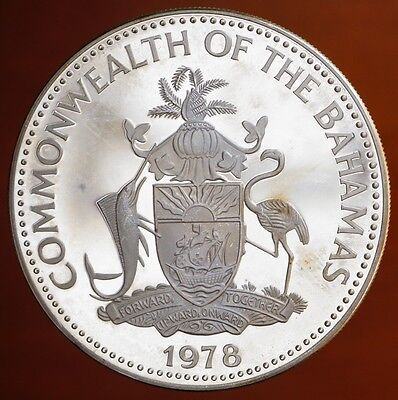 1978 Bahamas $10 KM# 78.2 Proof Silver Independence 5th Ann. Prince Charles Coin