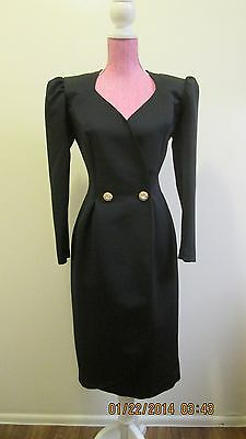 80s CARON CHICAGO BLACK RHINESTONE BUTTON PUFF SHOULDER COCKTAIL DRESS L