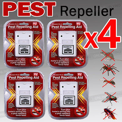 4 X RIDDEX Ultrasonic Pest repeller Control Electronic Repellant Insects Rodents