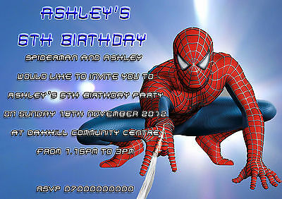 10 Personalised Childrens Birthday Party Invitations Spiderman Kids