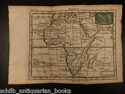 1742 Color Copper MAP of AFRICA Saudi Arabia Egypt Ethiopia Turkey 15cm X 22cm