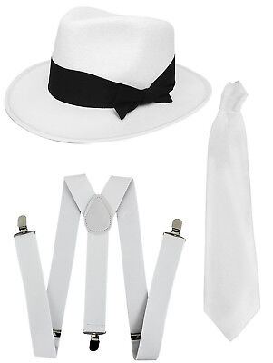 Jacko Set White Trilby Braces And Tie King Of Pop Costume Gangster Fancy Dress