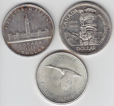 Lot of Three Commemorative Silver Dollars - 1939, 1958, 1967 Nice Condition