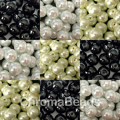 12mm Glass Pearls - choice of colours - Black / White / Ivory - 30 beads