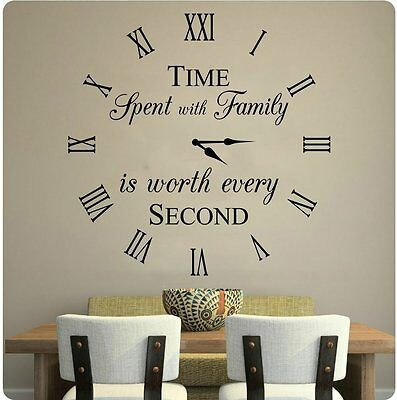 """24"""" Time Spent With Family Is Worth Every Second Wall Decal Sticker Home Clock"""