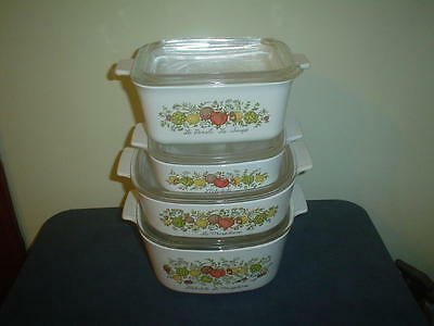VINTAGE -8pc Set SPICE OF LIFE CORNING WARE CASSEROLE Cookware with glass Lids