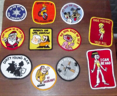 VINTAGE EMBROIDERED PATCHES, FUNNY, HIPPIE, 70'S  Snowboard Ski Snow Machine