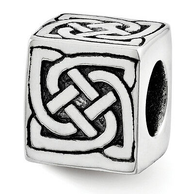 Celtic Block Bead .925 Sterling Silver Antique Finish Reflection Beads