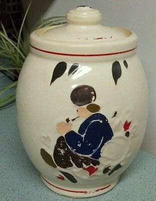 Vintage 1940s McCoy Pottery Cookie Jar ~ Man Smoking A Pipe ~ Dutchman Russian