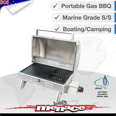 MARINE BBQ Portable Boat Camp Gas Barbeque Stainless Steel Caravan Roaster Grill