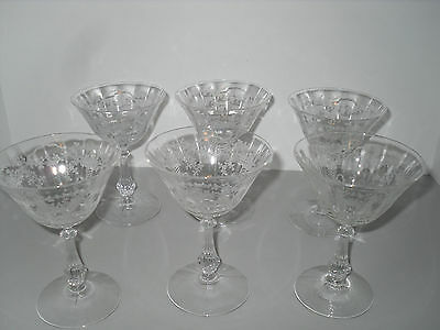 """Fostoria Corsage Champagne Sherbets 6 Etched Paneled Tall Stemware Set 5 3/8"""""""