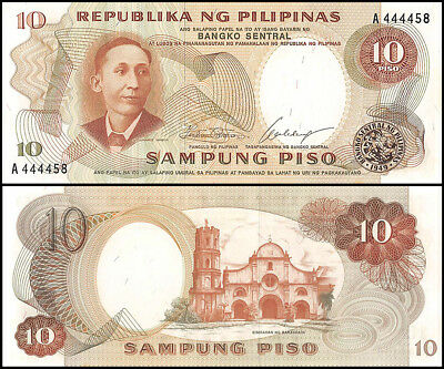 Philippines 10 Piso Banknote, ND 1969, P-144a, UNC, Signature # 7