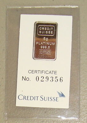 Credit Suisse 5 Gram .9995 Pure Platinum Liberty Bullion Bar