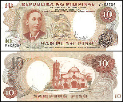 Philippines 10 Piso Banknote, ND 1969, P-144b, UNC, Signature # 8