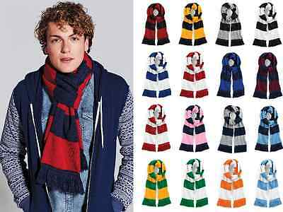 Striped scarf, Beechfield varisity college, stripy colours football scarve, knit