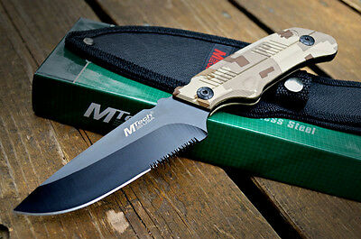 """8"""" TACTICAL HUNTING Survival FULL TANG FIXED BLADE KNIFE Serrated + SHEATH"""