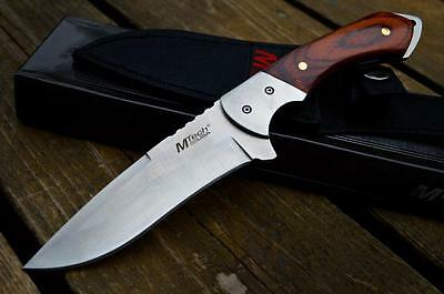 """9"""" TACTICAL WOOD Hunting Survival FULL TANG HANDLE FIXED BLADE KNIFE w/ SHEATH"""