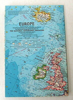 Vintage National Geographic Map Of Europe June 1962