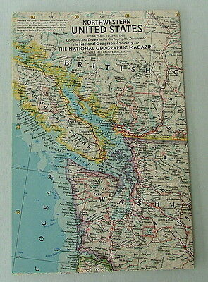 Vintage National Geographic Map Of The  Northwestern United States April 1960