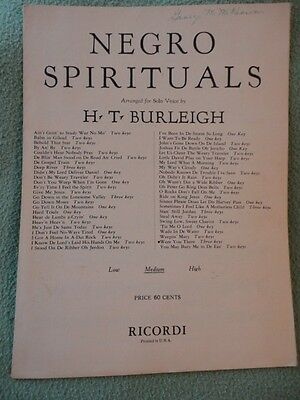 Negro Spirituals Were You There? Sheet Music H T Burleigh 1924 by Ricordi