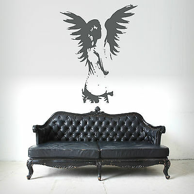 GOTHIC ANGEL FAIRY GIRL ANGEL WINGS wall art sticker bedroom decal