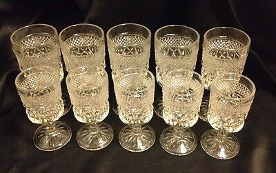 10 VINTAGE ANCHOR HOCKING WEXFORD DIAMOND POINT HEAVY GLASS GOBLETS 4OZ. & 8OZ.