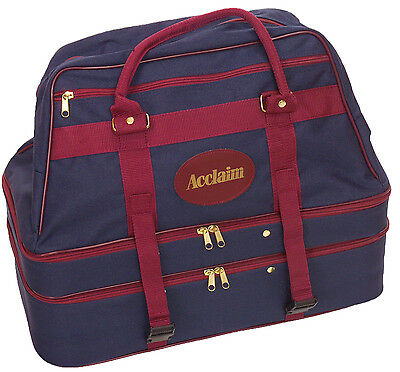 ACCLAIM Bamburgh Navy Burgundy Large Triple Decker 3 Section Bowling Bag