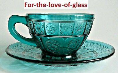 Teal Ultramarine Doric & Pansy Cup and Saucer Set