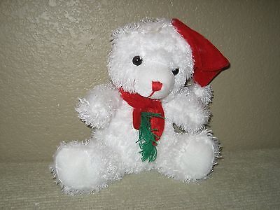 """White Plush Christmas Teddy Bear Wears Red Scarf & Cap Seated 9"""""""