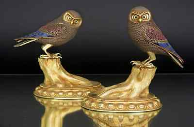 2 Antique Or Vintage Chinese Gold Gilt Silver Filigree Lapis Lazuli Owls Figures