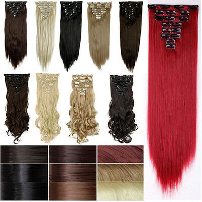 Women 8 Piece Full Head Fall Clip in Hair Extensions 18 clips 100% Real Thick mm