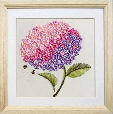 3D Ribbon Embroidery Kit Romantic Pretty Pink Purple Flowers Ball 30*30CM Gift