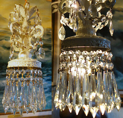 1of5 Vintage ROCOCO Shabby Spelter Chic Lamp Crystal Chandelier hanging