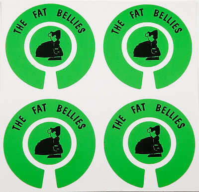 ACCLAIM Vinyl Bowls Stickers Set Of 4 Complete Printed The Fat Bellies Green