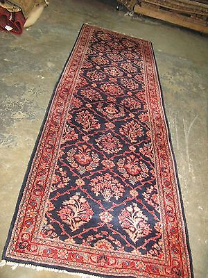 Antique Persian Blue Very Fine Sarouk Hand Knotted Wool Rug Runner 2'-11 x 10'-2