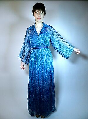 VTG Blue Maxi Sheer Dress 60s 70s Print on Print Disco Kimono Sleeves Sz M