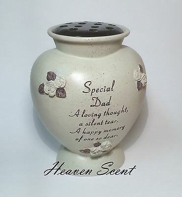 Memorial For Special Dad Heart Shaped Grave Flower Vase Pots Funeral Ornament