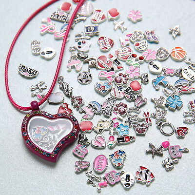 50pcs Wholesale Random floating charms locket for glass living memory necklace