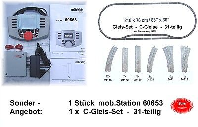 60653 MäRKLIN Mobile Station with Junction box+Power supply+Track set 31-piece #