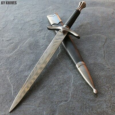 "16"" Medieval Dagger With Chrome Finish And Black Scabbard NEW H-5926 zix"