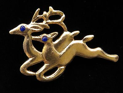Vtg Double Reindeer Christmas Pin Goldtone Hong Kong Blue RS Eyes