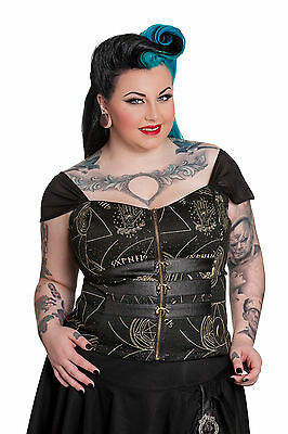 79064f337946d Spin Doctor Plus Size Pentagram Moon Skull Gothic Buckle Corset Top 1X 2X 3X