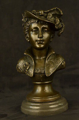 English Lady Bronze Art Nouveau Sculpture Marble Base Statue Female Bust Decor